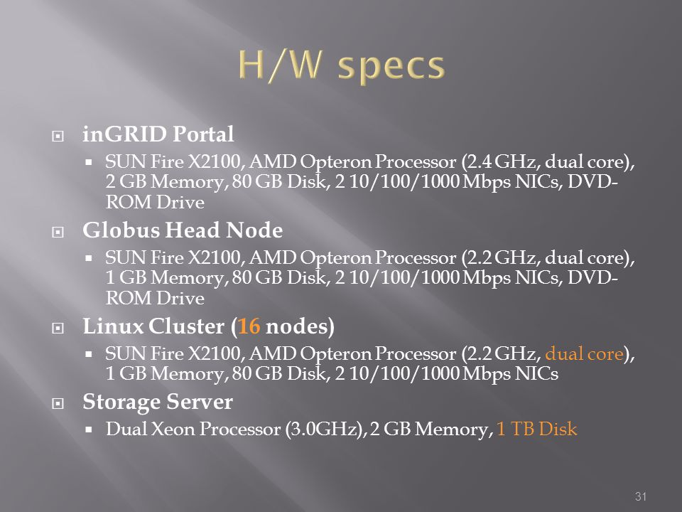 H/W specs inGRID Portal Globus Head Node Linux Cluster (16 nodes)