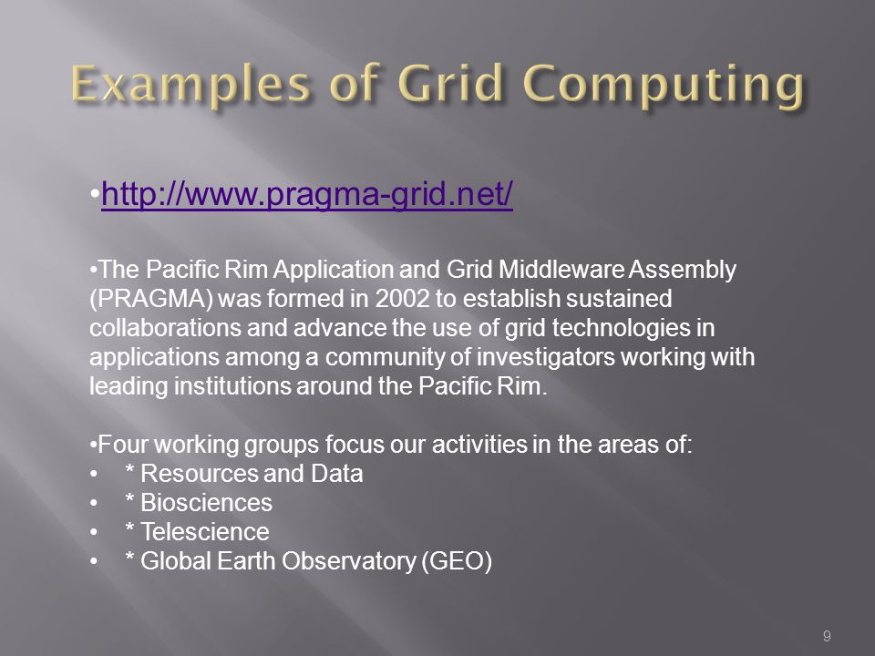 Examples of Grid Computing