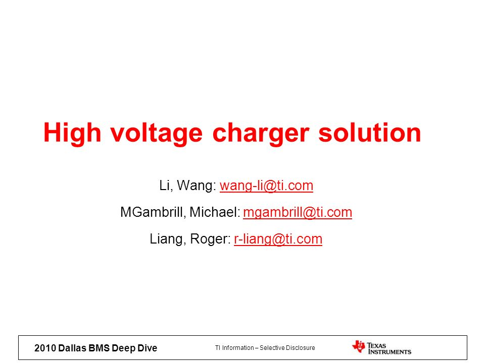 High voltage charger solution