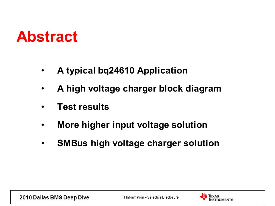 Abstract A typical bq24610 Application