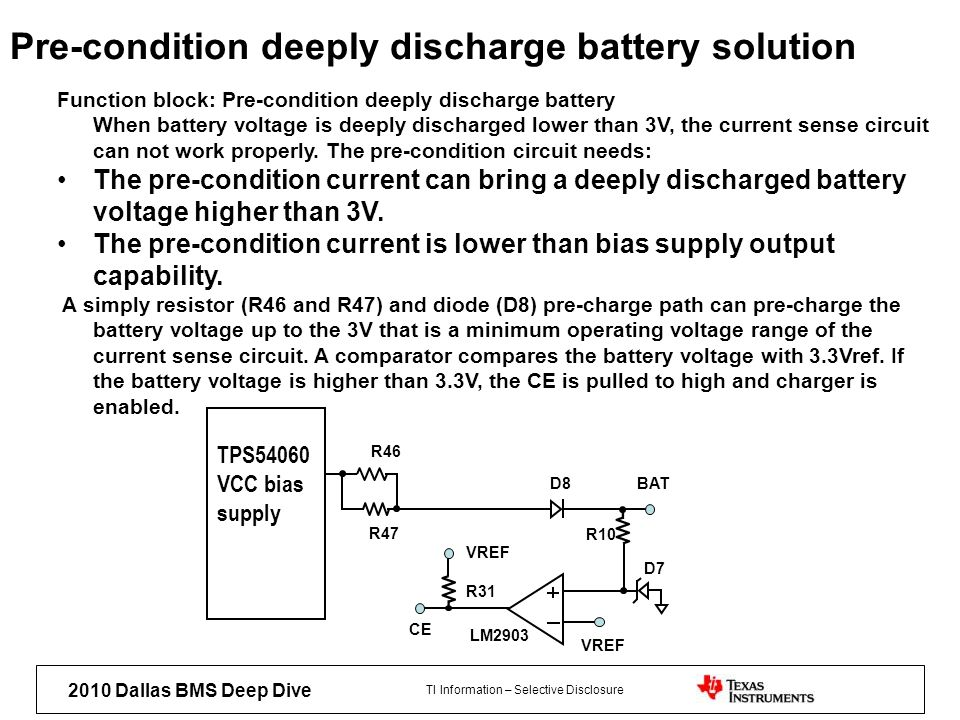 Pre-condition deeply discharge battery solution