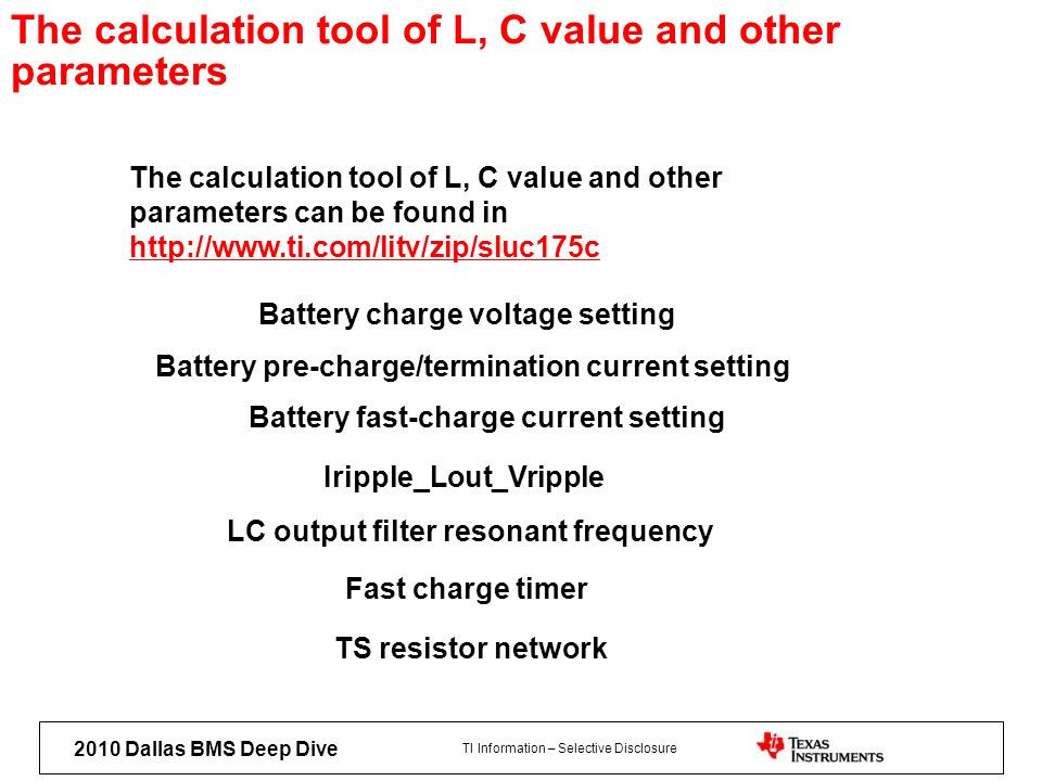 The calculation tool of L, C value and other parameters