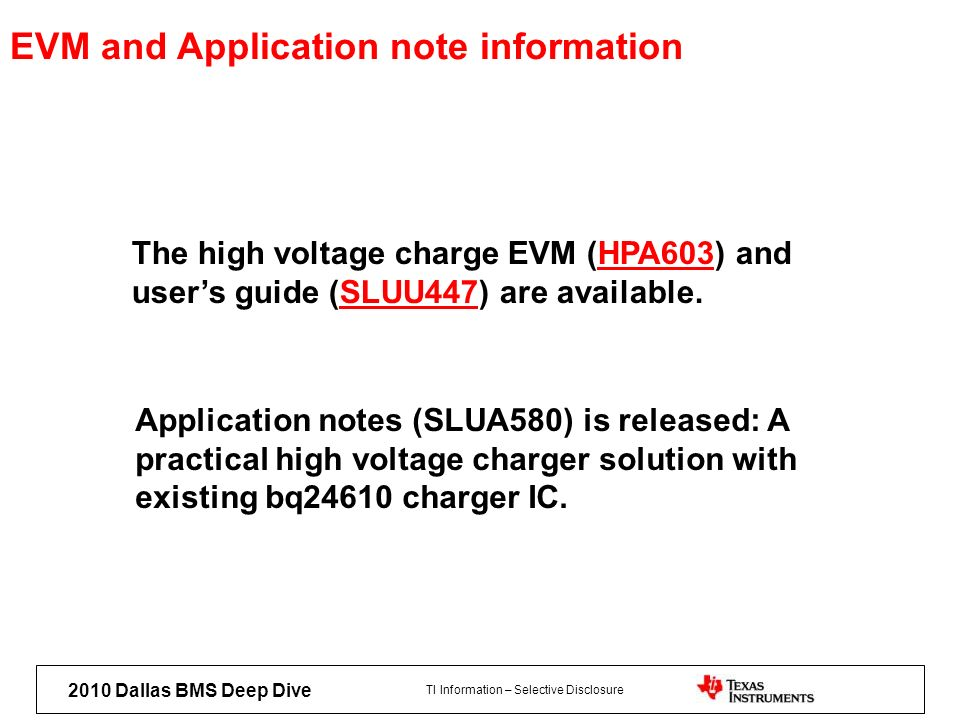 EVM and Application note information