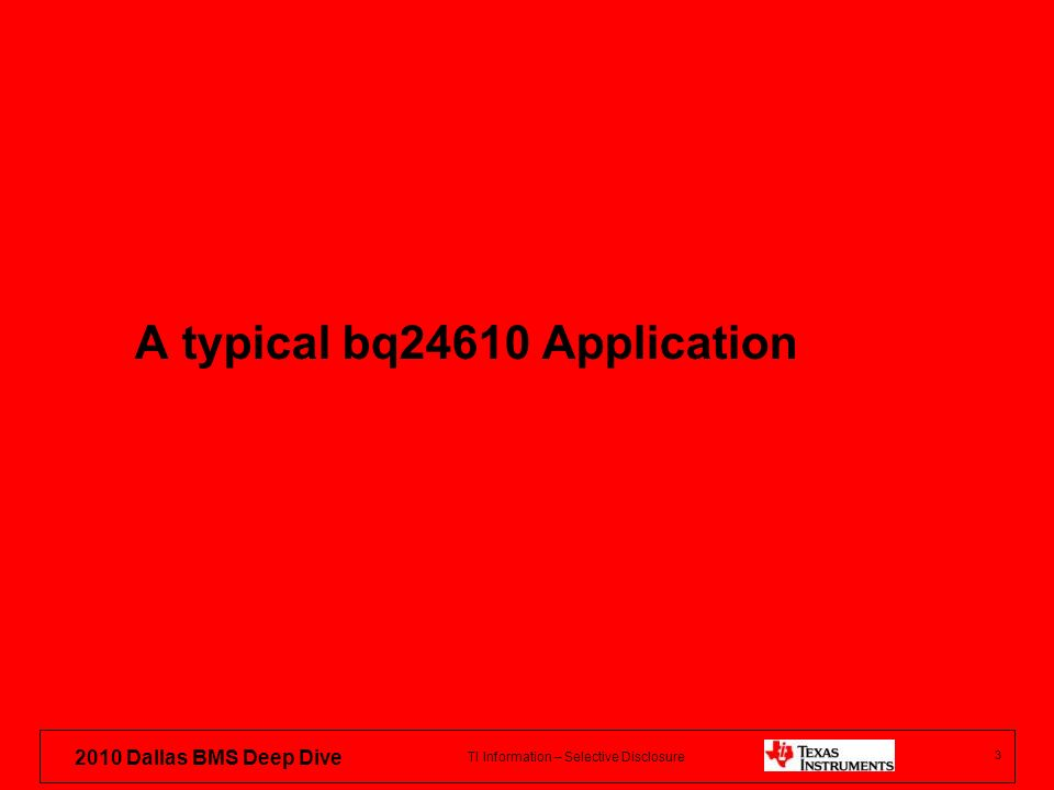 A typical bq24610 Application