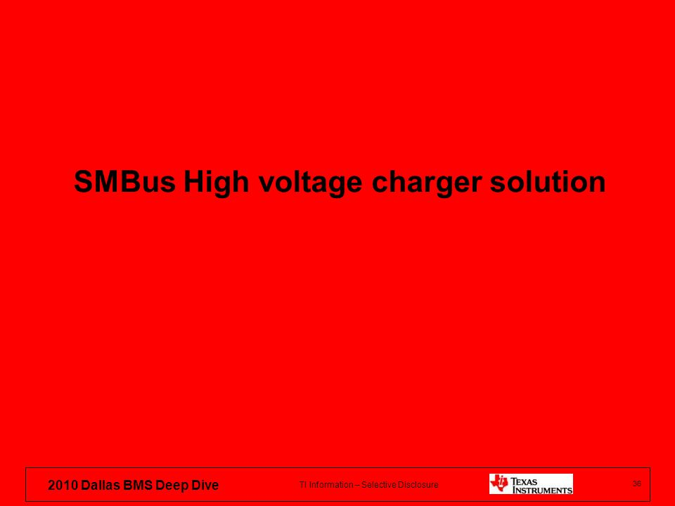 SMBus High voltage charger solution