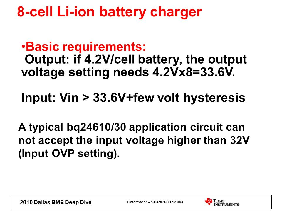 8-cell Li-ion battery charger