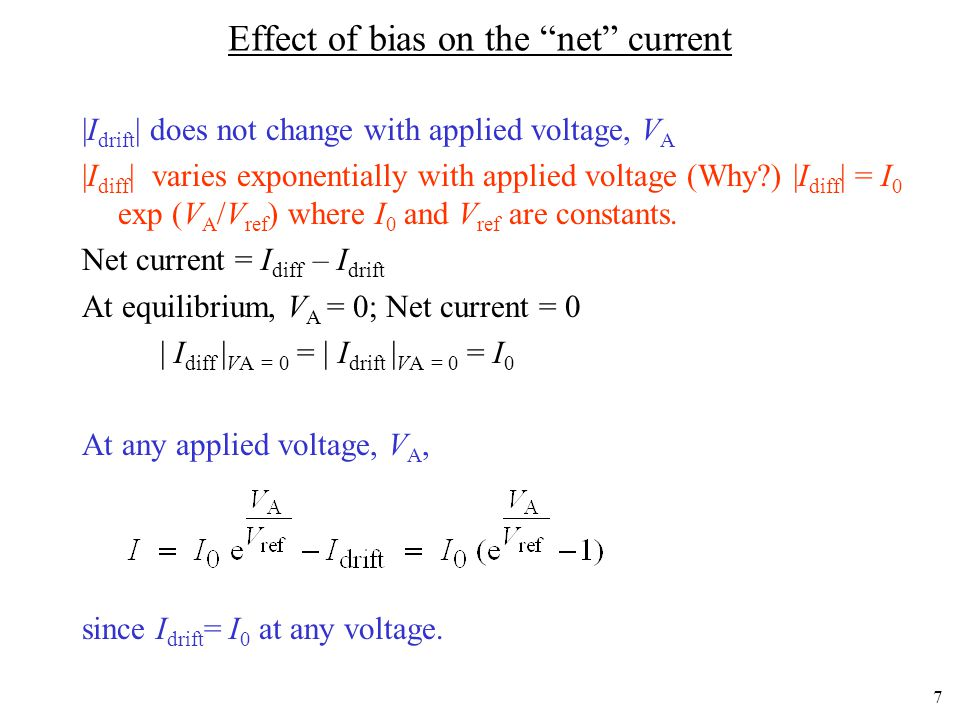Effect of bias on the net current