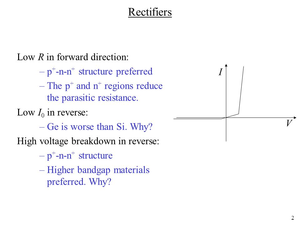 Rectifiers Low R in forward direction: p+-n-n+ structure preferred