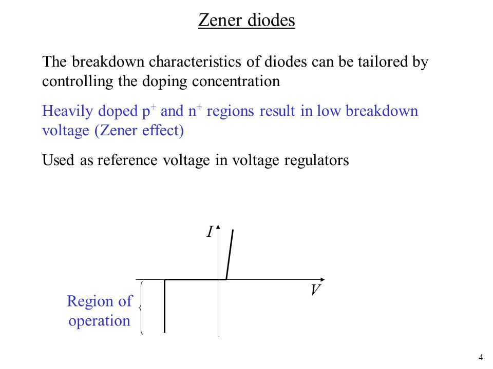 Zener diodes The breakdown characteristics of diodes can be tailored by controlling the doping concentration.