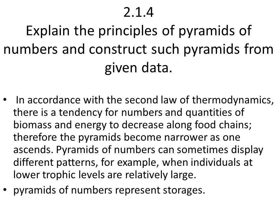 2.1.4 Explain the principles of pyramids of numbers and construct such pyramids from given data.