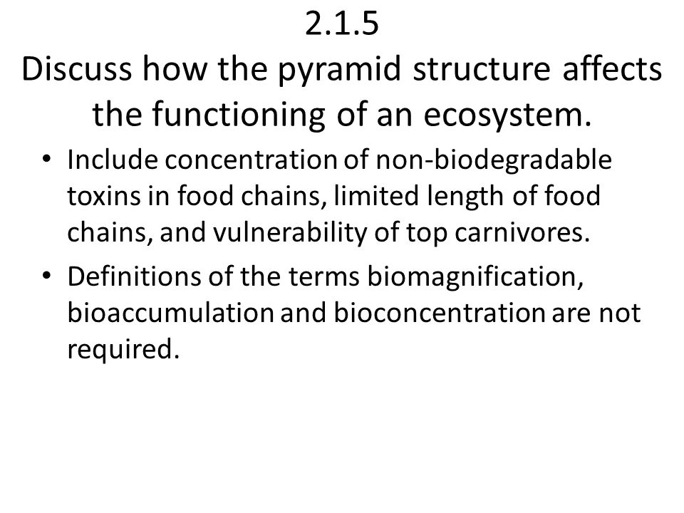 2.1.5 Discuss how the pyramid structure affects the functioning of an ecosystem.