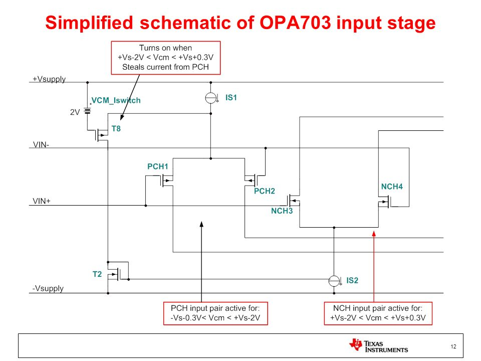 Simplified schematic of OPA703 input stage