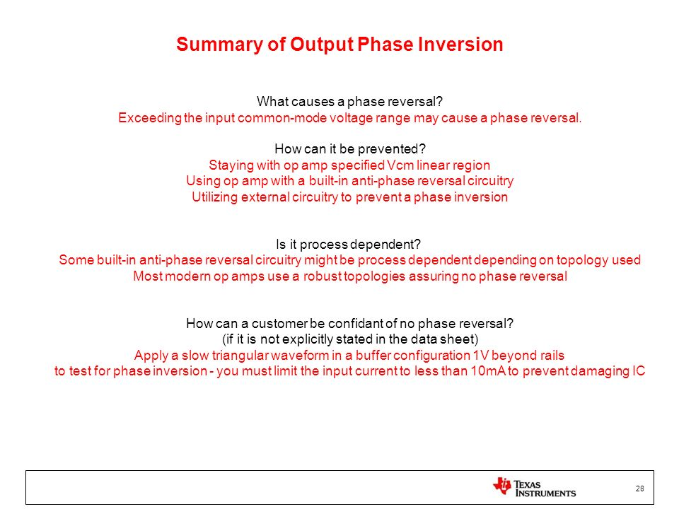 Summary of Output Phase Inversion