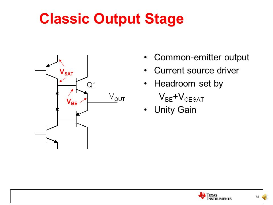 Classic Output Stage Common-emitter output Current source driver