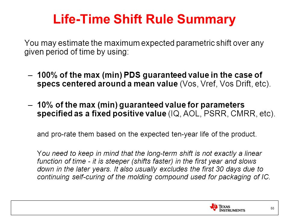 Life-Time Shift Rule Summary