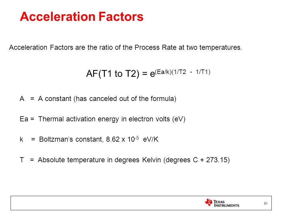 AF(T1 to T2) = e(Ea/k)(1/T2 - 1/T1)