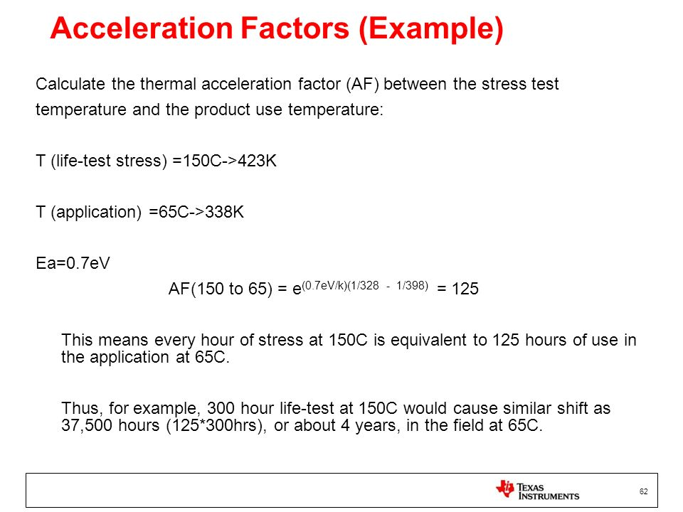 Acceleration Factors (Example)