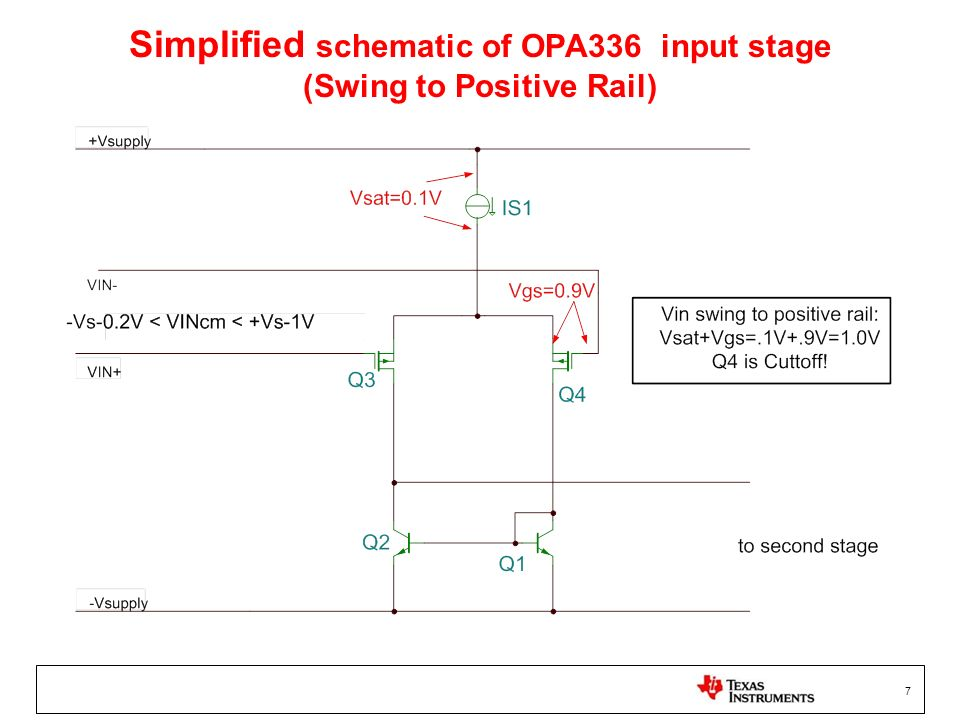 Simplified schematic of OPA336 input stage (Swing to Positive Rail)