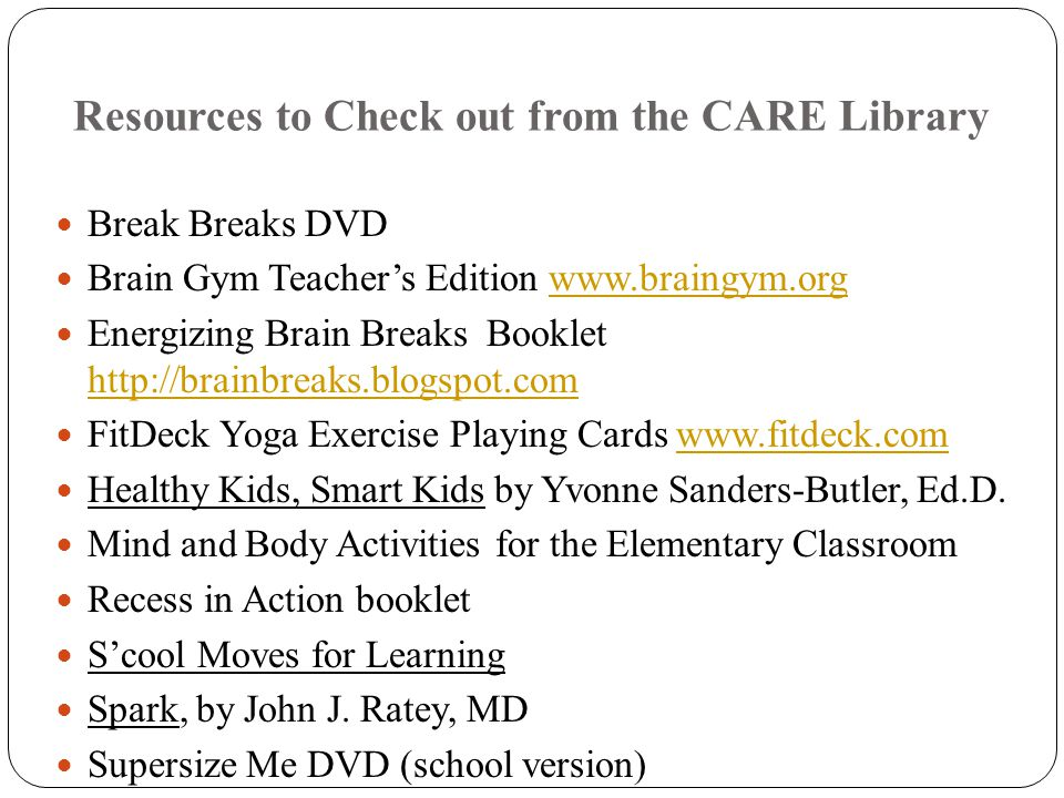 Resources to Check out from the CARE Library
