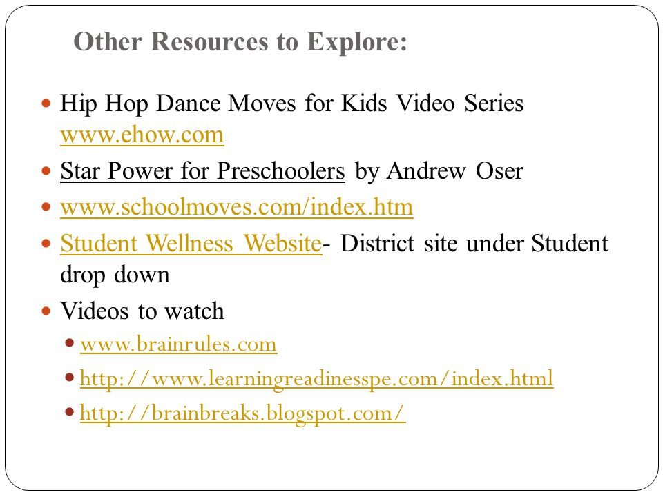 Other Resources to Explore: