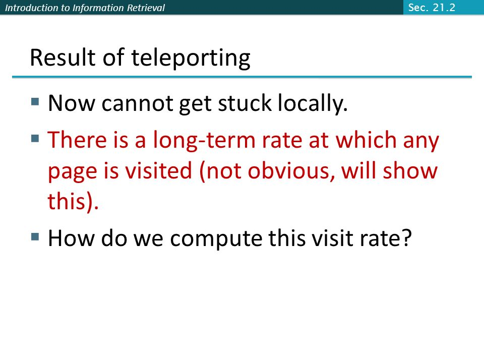 Result of teleporting Now cannot get stuck locally.