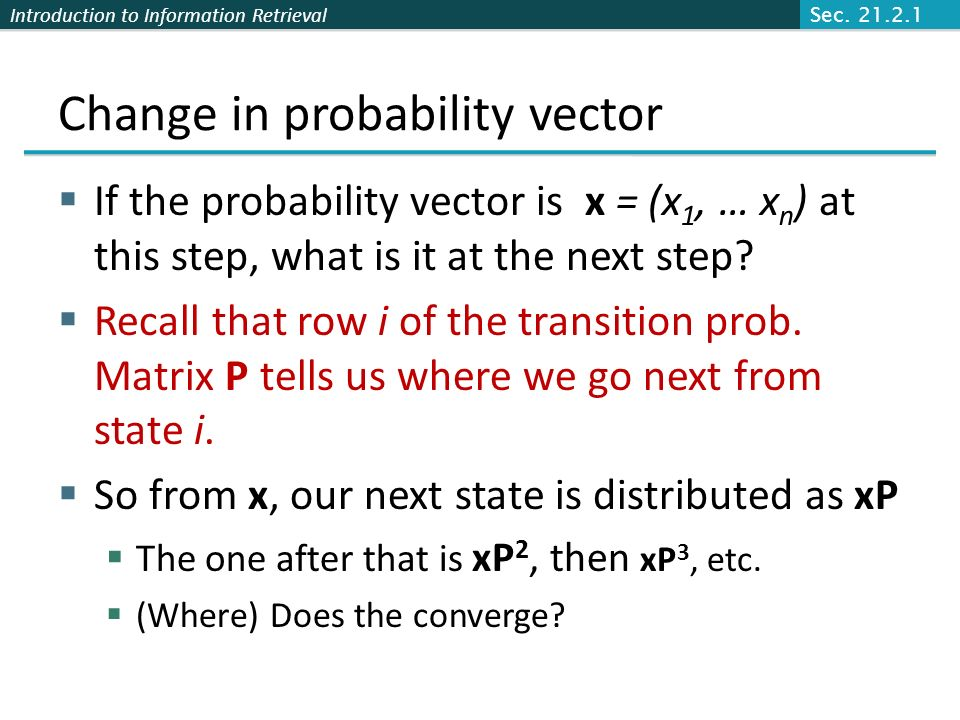 Change in probability vector