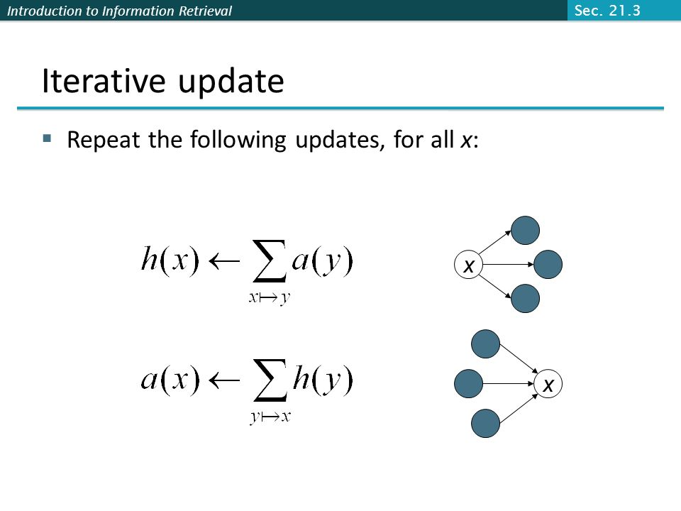 Iterative update Repeat the following updates, for all x: x x