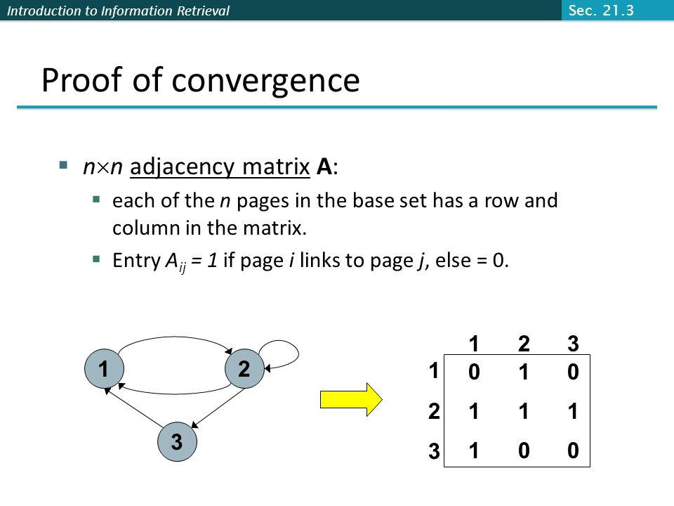 Proof of convergence nn adjacency matrix A:
