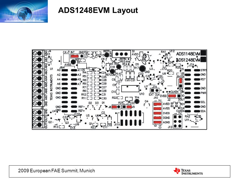 ADS1248EVM Layout 2009 European FAE Summit, Munich
