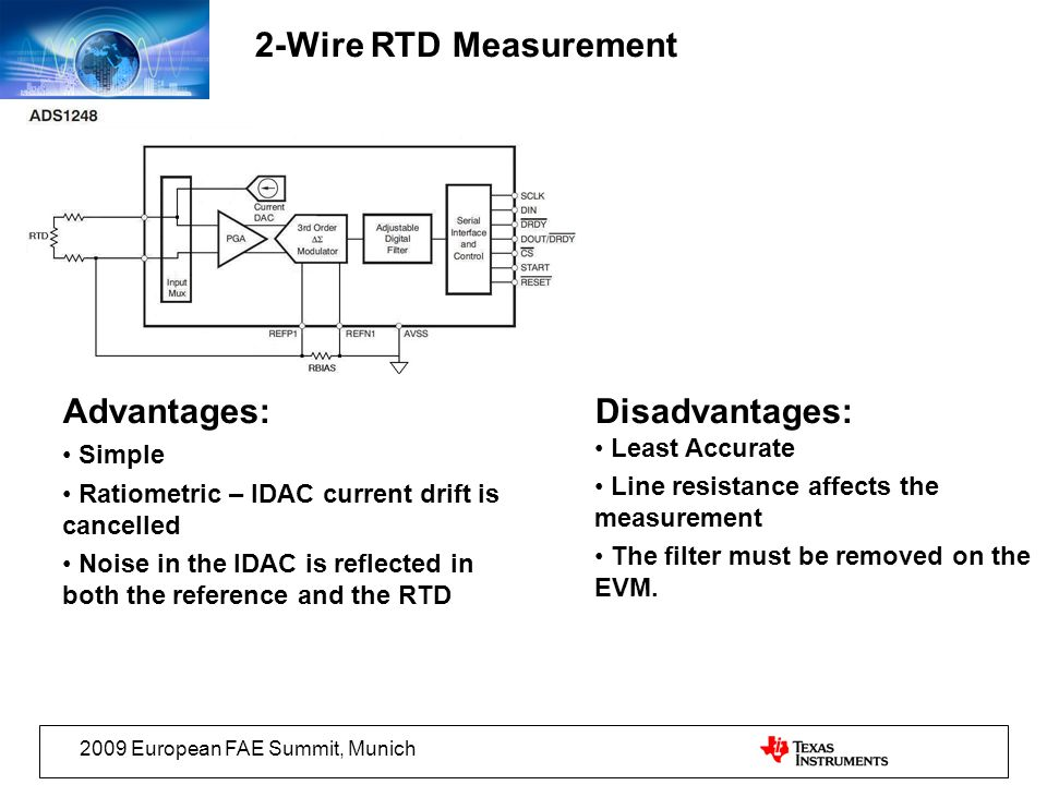2-Wire RTD Measurement Advantages: Disadvantages: Simple