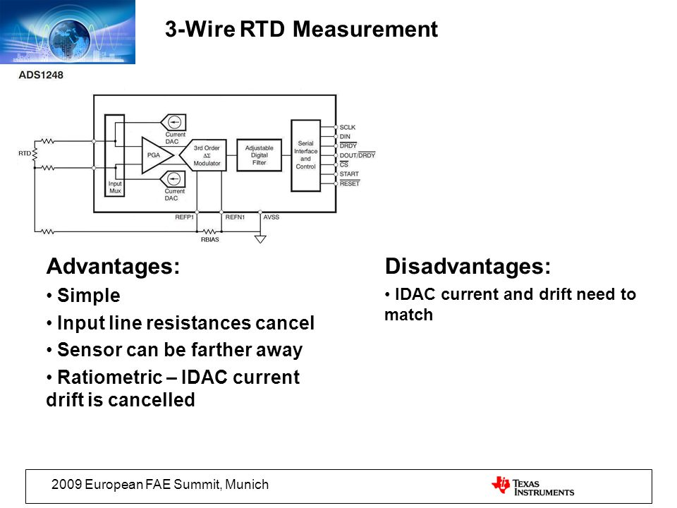 3-Wire RTD Measurement Advantages: Disadvantages: Simple