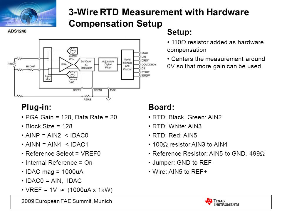 3-Wire RTD Measurement with Hardware Compensation Setup