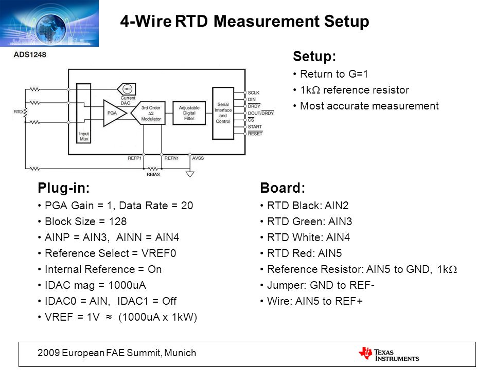 4-Wire RTD Measurement Setup