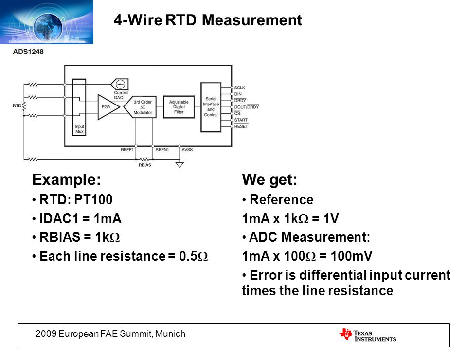 4-Wire RTD Measurement Example: We get: RTD: PT100 IDAC1 = 1mA