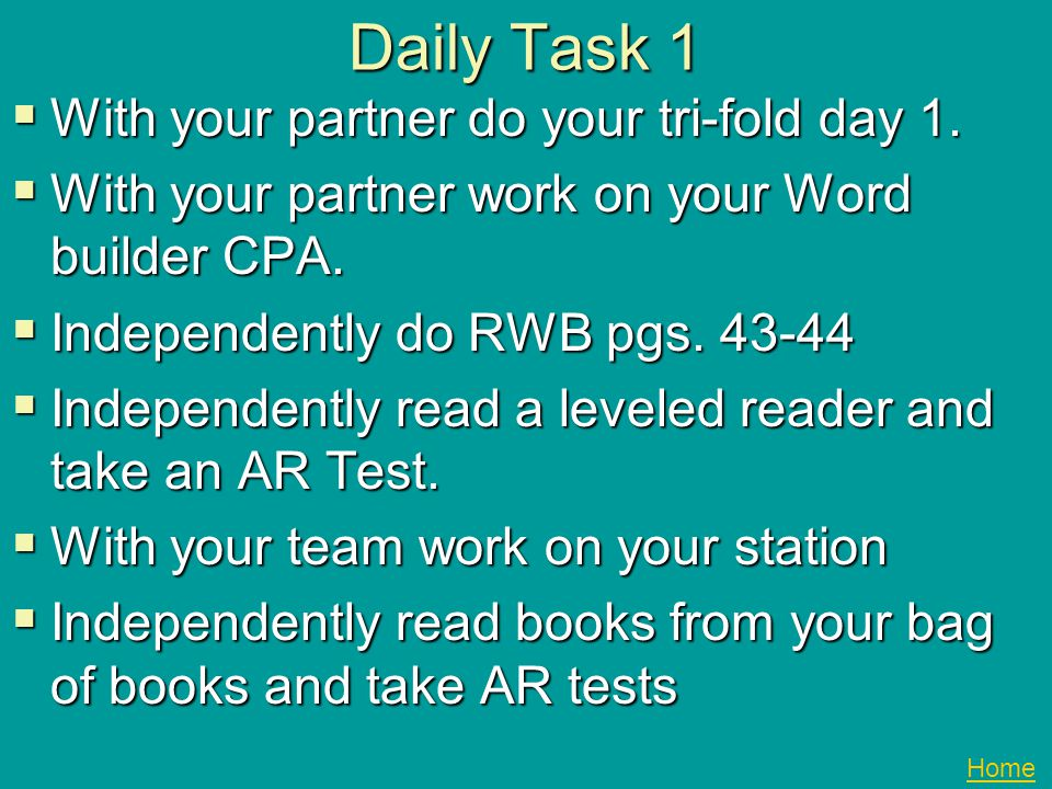 Daily Task 1 With your partner do your tri-fold day 1.