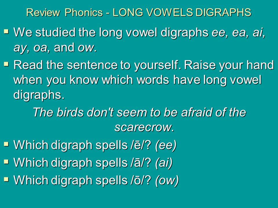 Review Phonics - LONG VOWELS DIGRAPHS