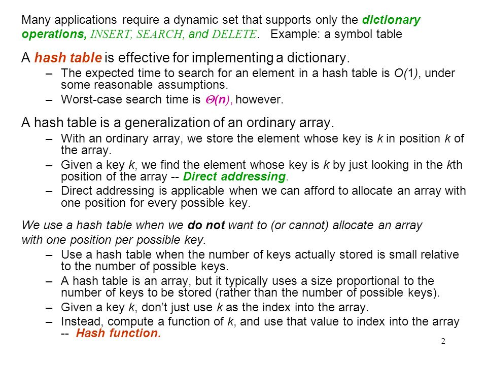 A hash table is effective for implementing a dictionary.