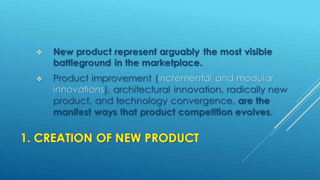 1. CREATION OF NEW PRODUCT