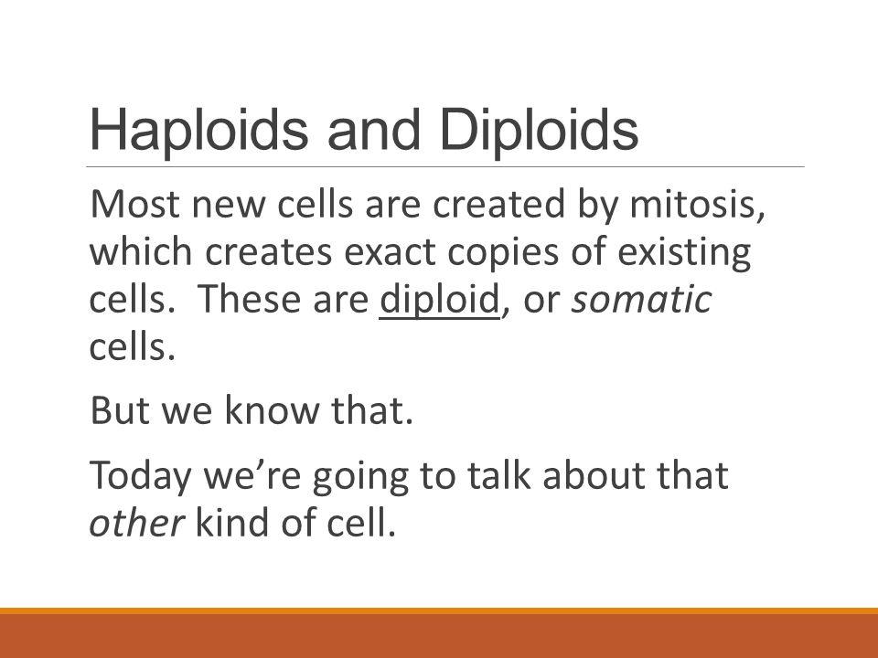 Haploids and Diploids