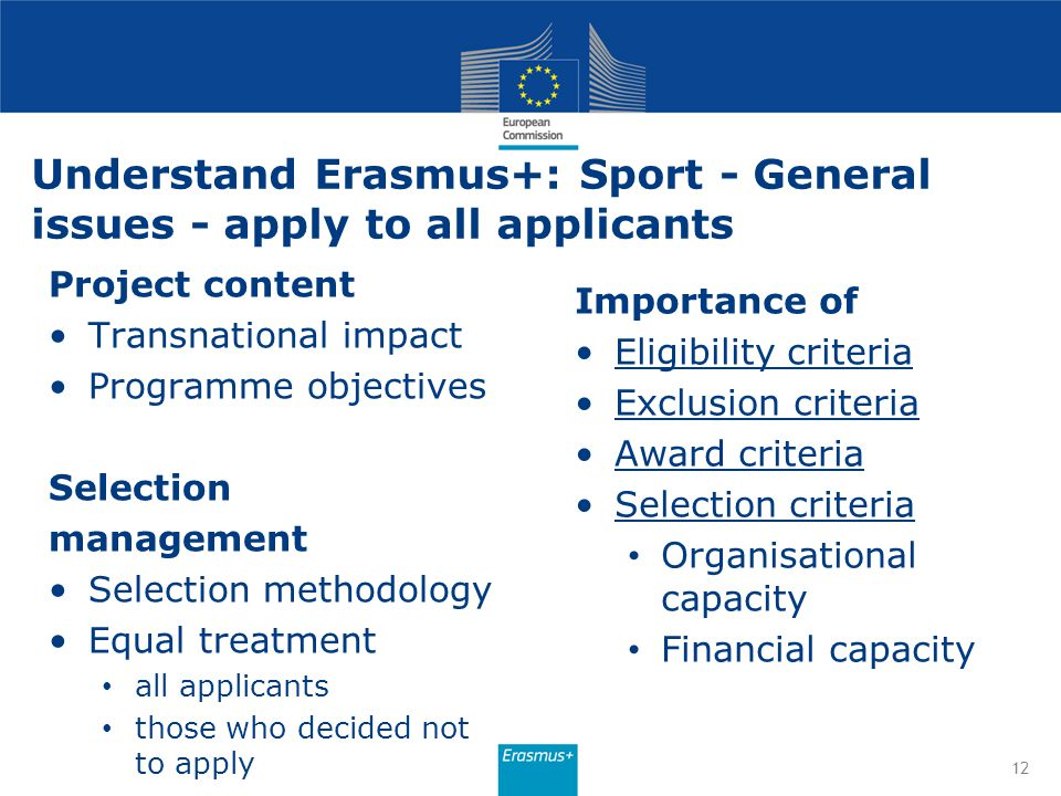 Understand Erasmus+: Sport - General issues - apply to all applicants