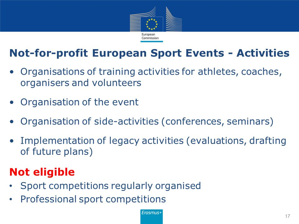 Not-for-profit European Sport Events - Activities
