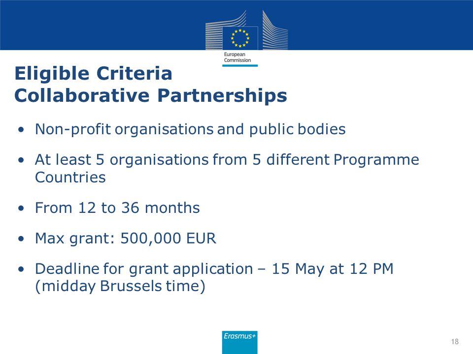 Eligible Criteria Collaborative Partnerships