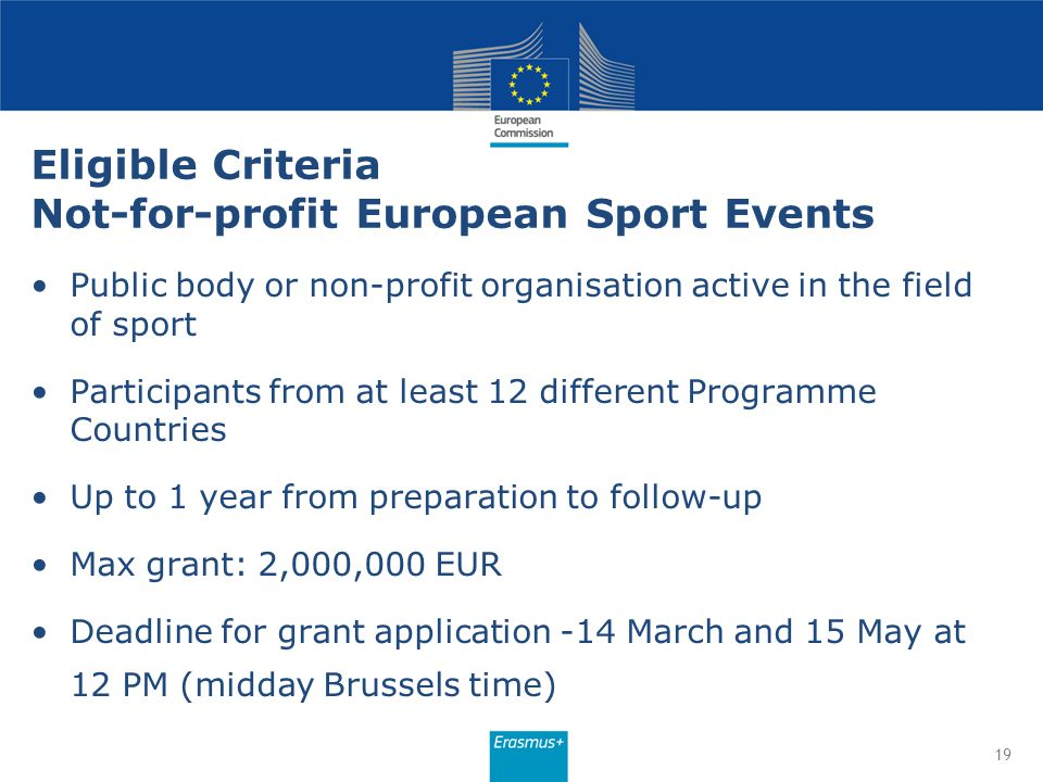 Eligible Criteria Not-for-profit European Sport Events