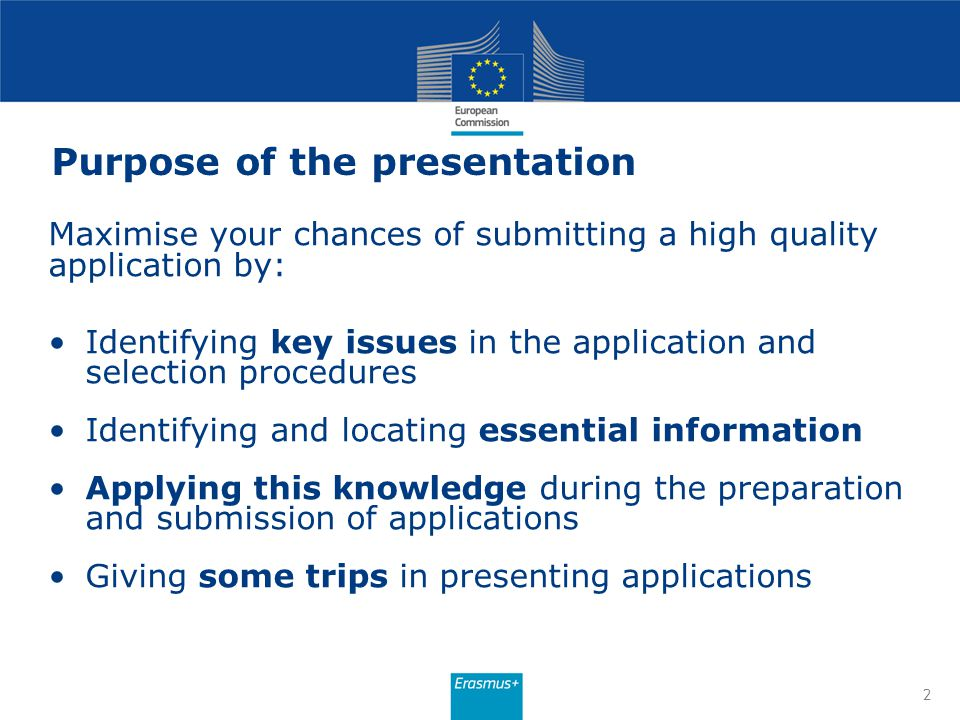 Purpose of the presentation