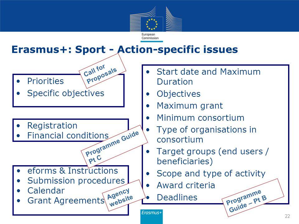 Erasmus+: Sport - Action-specific issues
