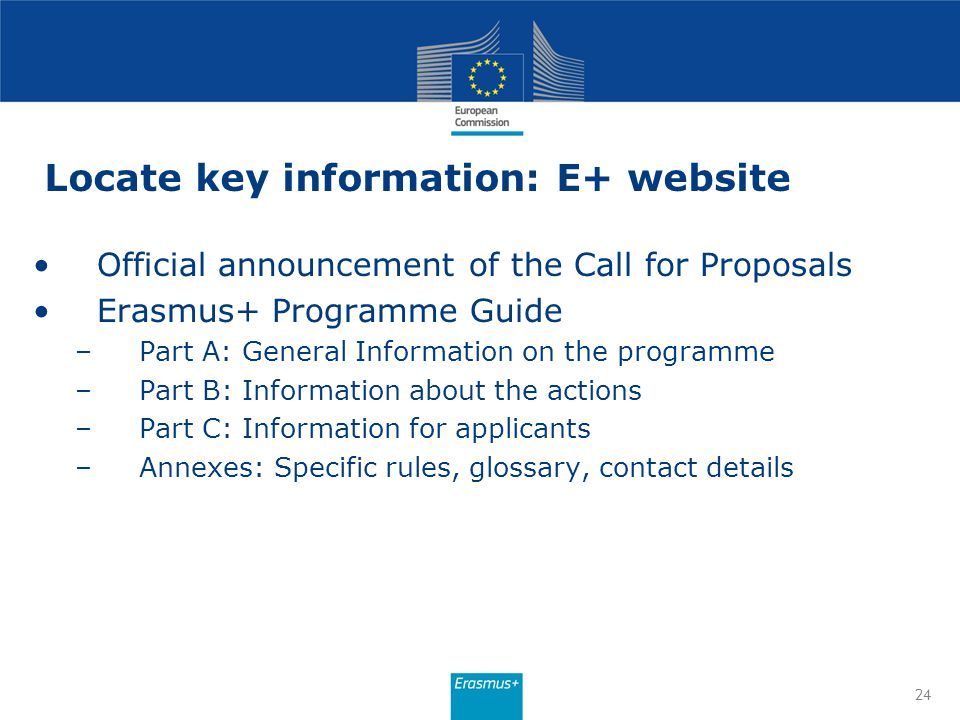 Locate key information: E+ website