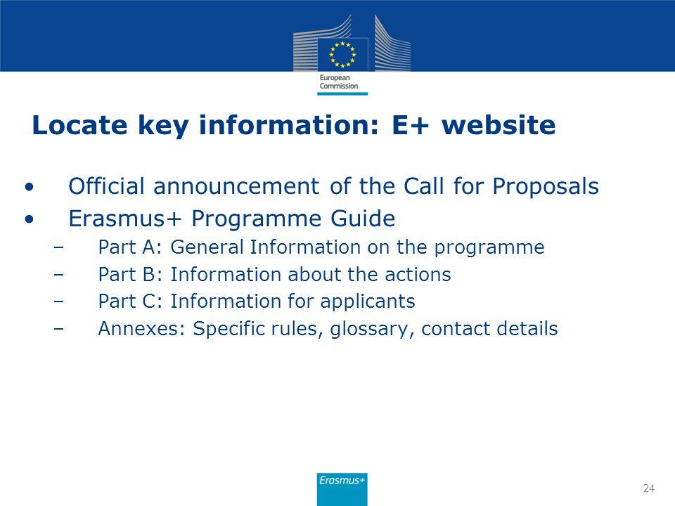 Locate key information: E+ website