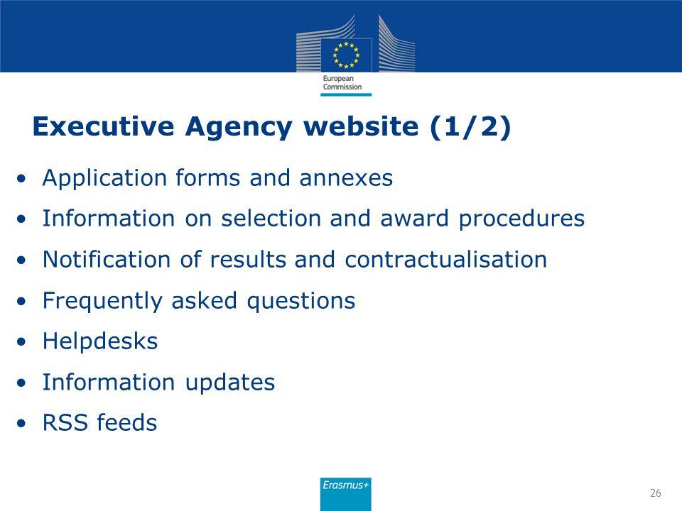 Executive Agency website (1/2)