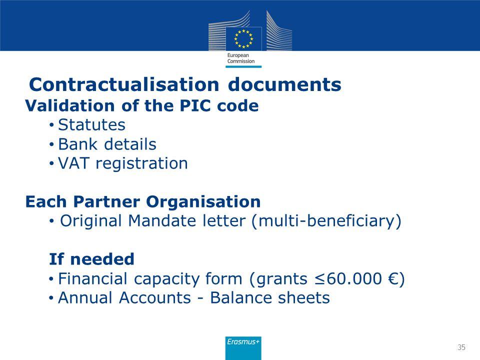 Contractualisation documents