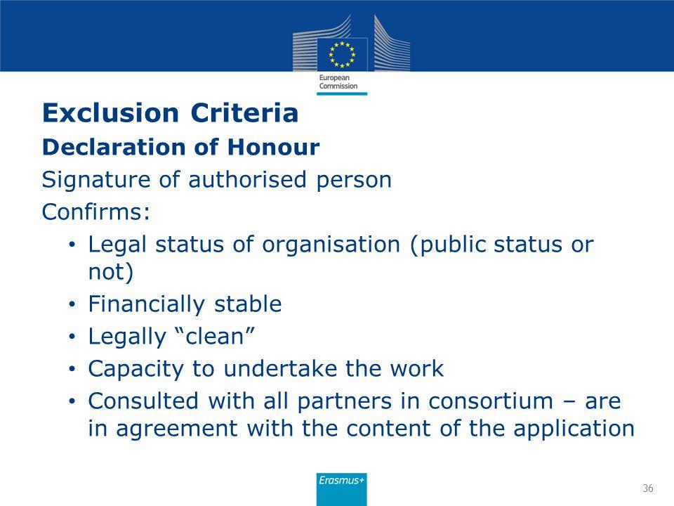 Exclusion Criteria Declaration of Honour